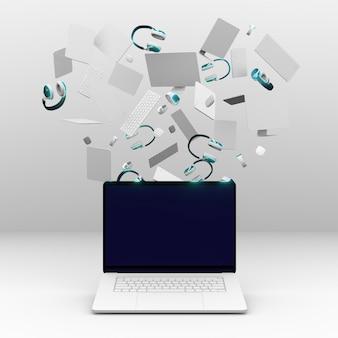 Laptop e outros dispositivos para segunda-feira cibernética
