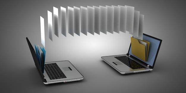 Laptop e pasta 3d. ilustração 3d