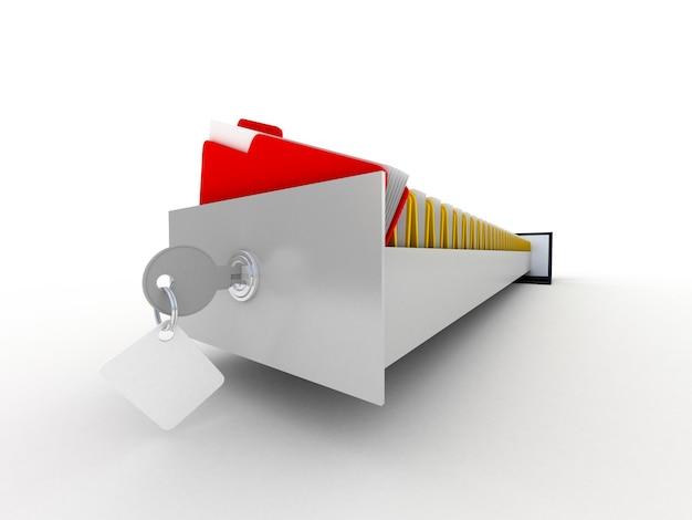Laptop e pastas de arquivo coloridas na tela, 3d