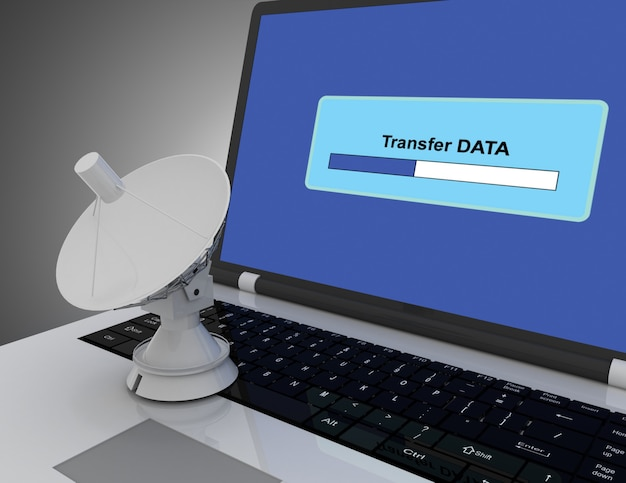 Laptop e satélite. conceito de internet. ilustração 3d