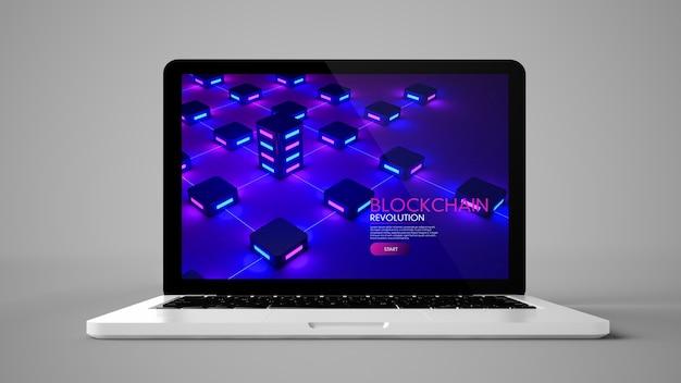 Laptop em fundo cinza mostrando blockchain na tela renderização em 3d