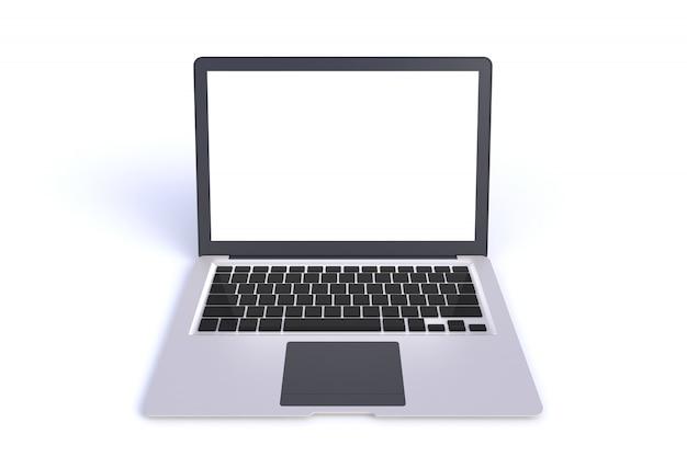 Laptop isolado com espaço vazio no fundo branco, renderização em 3d