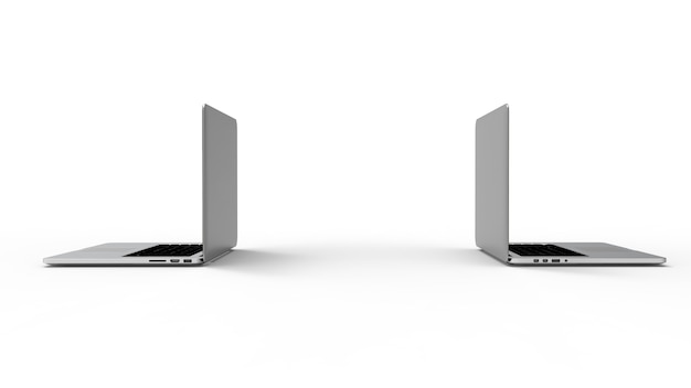 Laptop isolado no fundo branco.