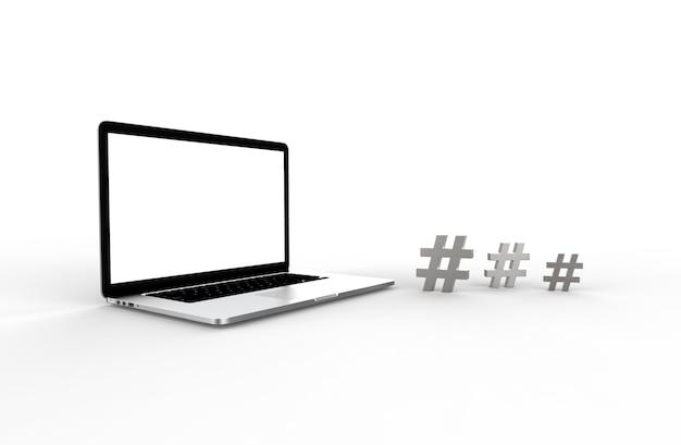 Laptop moderno e ícone de hashtag isolado no fundo branco. ilustração 3d.