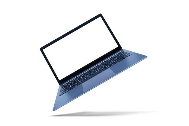 Laptop moderno fino com maquete de tela branca em fundo branco com sombra.