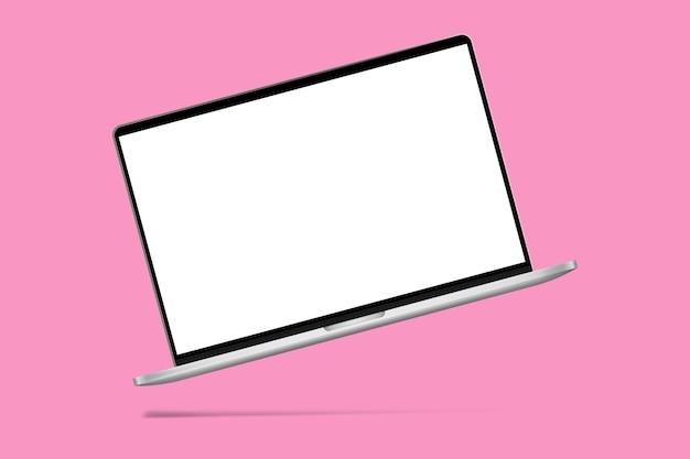 Laptop moderno fino com maquete de tela branca em fundo rosa com sombra.