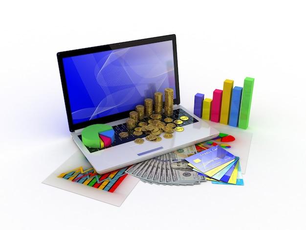 Laptop mostrando uma planilha e um papel com gráficos estatísticos, cercados por alguns gráficos 3d