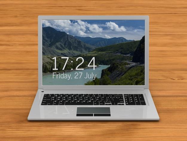 Laptop na mesa de madeira. renderização 3d
