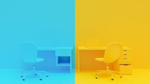 Laptop na mesa de trabalho, cor amarela e azul, render 3d