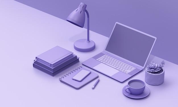 Laptop na mesa render mono cor de fundo