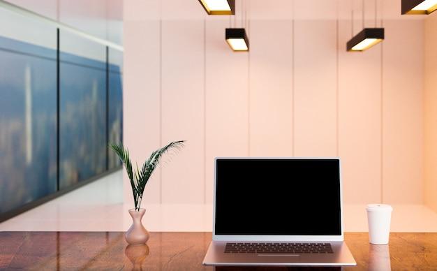 Laptop no escritório e local de trabalho, renderização de ilustração 3d