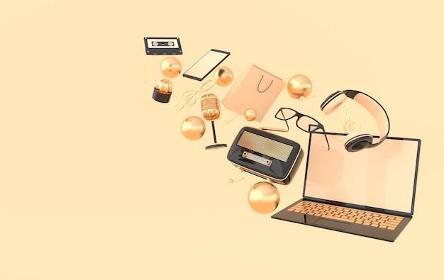 Laptop smartphone sacola de compras óculos, microfone, rádio, fones de ouvido, renderização
