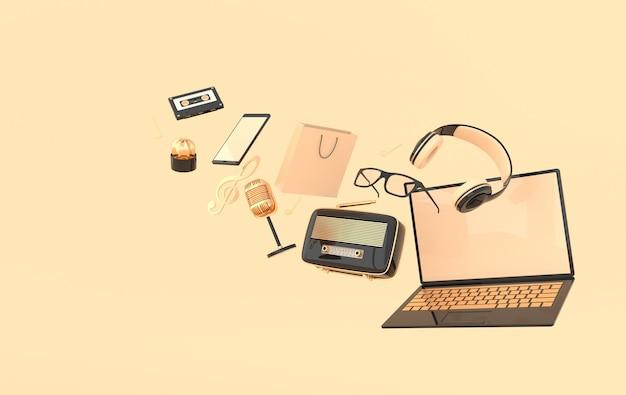 Laptop, smartphone, sacola de compras, óculos, microfone, rádio, fones de ouvido