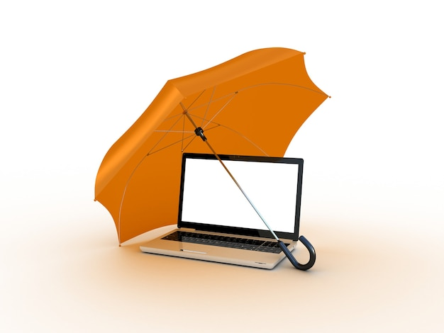 Laptop sob a laranja um guarda-chuva. ilustração 3d