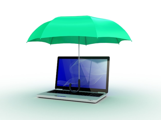 Laptop sob o guarda-chuva verde. ilustração 3d