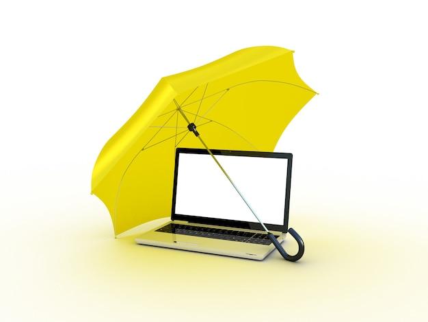 Laptop sob um guarda-chuva amarelo. ilustração 3d