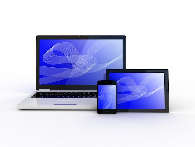 Laptop, tablet e smartphone em branco