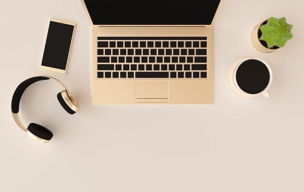 Laptop, telefone, fones de ouvido, xícara de café renderização em 3d