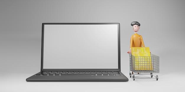 Laptop vazio e personagem com carrinho de compras