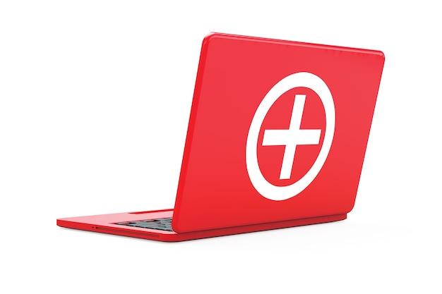 Laptop vermelho com sinal do kit de primeiros socorros em um fundo branco. renderização 3d.