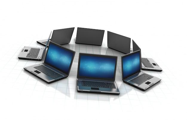Laptops de computador em um círculo