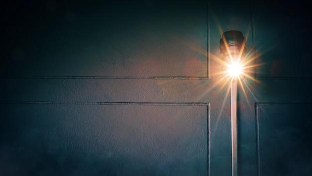 Laranja cresce a luz com linha cruzada no escuro