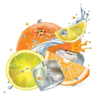 Laranja e limão frescos com cubos de gelo e salpicos de água e suco
