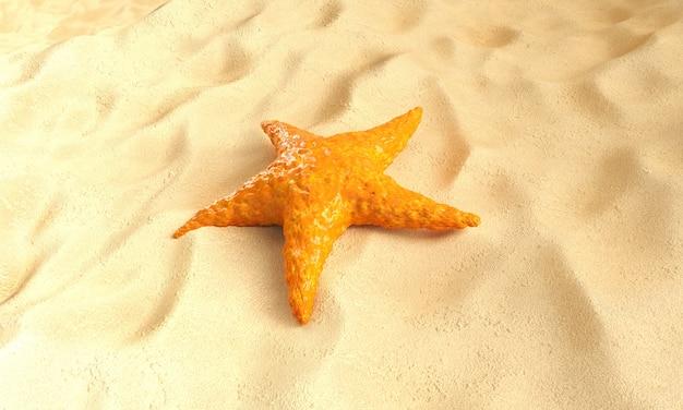 Laranja estrela do mar do caribe em um fundo de areia. renderização 3d