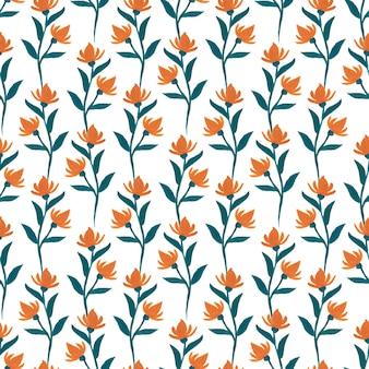 Laranja guache flores sem costura padrão.