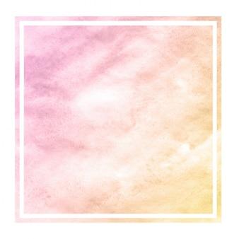 Laranja morna mão desenhada aquarela textura de fundo retangular quadro com manchas