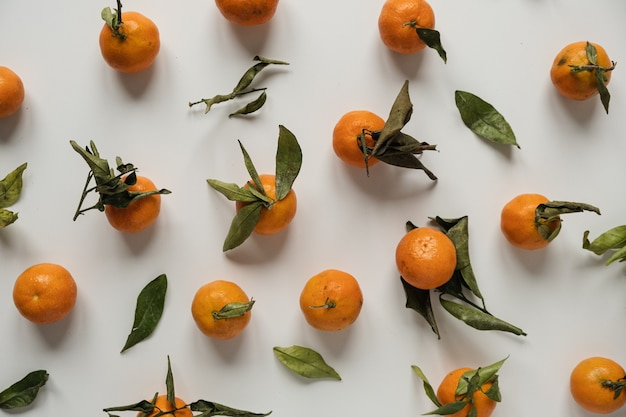 Laranjas cruas, tangerinas com padrão de folhas
