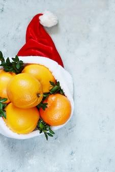 Laranjas maduras no chapéu de papai noel com planta de buxo em uma parede azul. clima festivo, natal e ano novo. copie o espaço