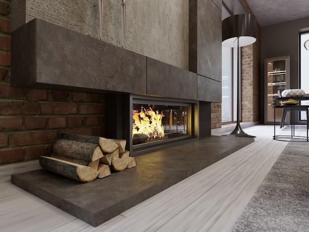 Lareira de design em estilo loft, fornalha embutida com lareira e lenha. renderização 3d.