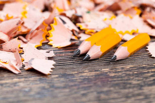 Lascas de lápis após afiar