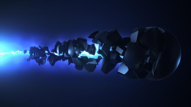 Laser azul destrói a esfera renderização em 3d
