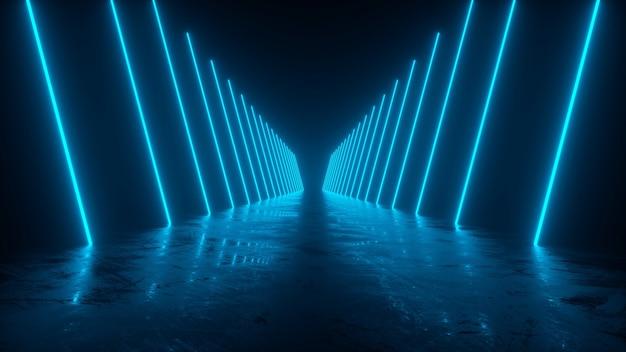Lasers de néon azul refletem lindamente em uma renderização 3d de piso úmido