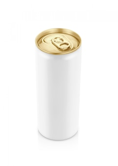Lata branca com tampa dourada para bebida bebida