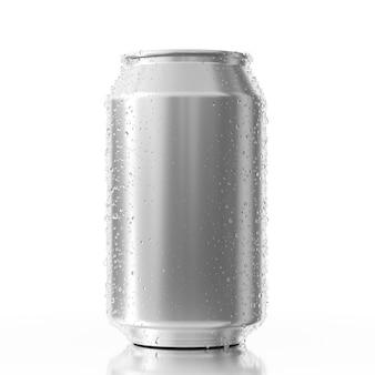 Lata de alumínio em branco com gotas de água em um fundo branco. renderização 3d
