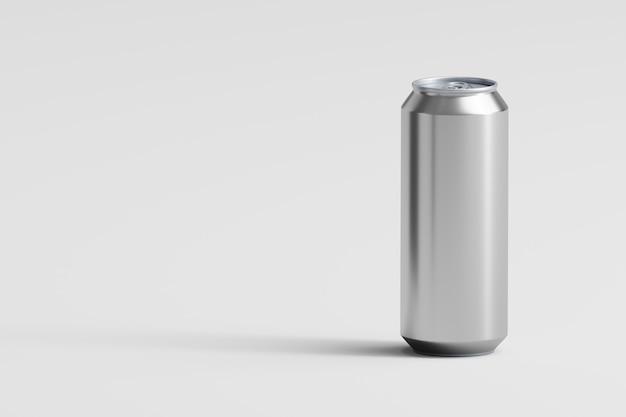 Lata de alumínio em fundo branco 3d render