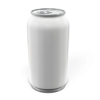 Lata de alumínio para cerveja, bebida, refrigerante, isolado no branco. renderização 3d.