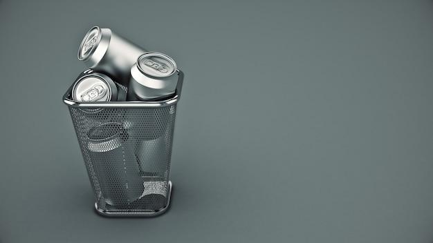 Lata de alumínio renderização 3d isolada