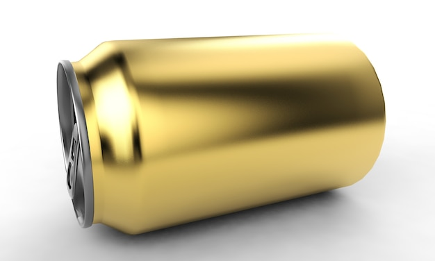 Lata de alumínio renderização em 3d, ideal para cerveja, cerveja, álcool, refrigerantes, refrigerante, refrigerante, limonada, cola, bebida energética, suco, água