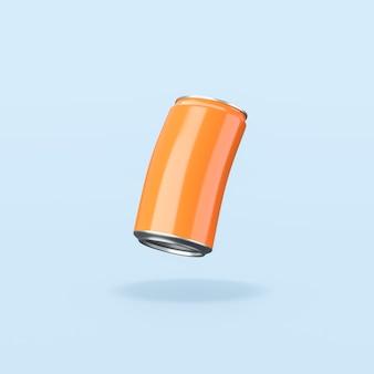 Lata de bebida de laranja com fundo azul