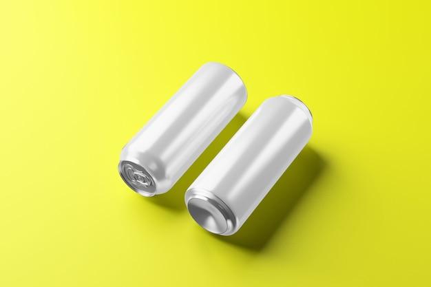Lata de cerveja de alumínio gelada vazia com gotas, renderização em 3d