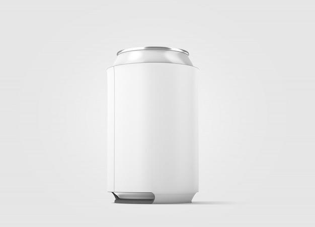 Lata de cerveja dobrável branca em branco