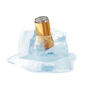 Lata de cerveja em cubo de gelo derretendo em branco