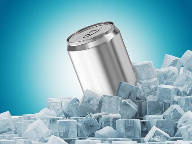 Lata de cerveja em cubos de gelo sobre fundo azul