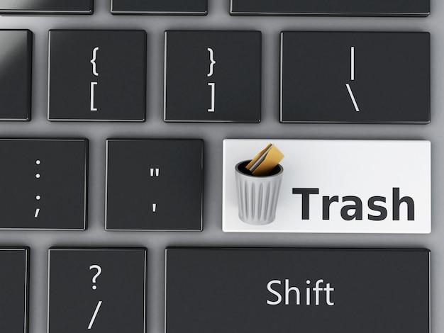 Lata de lixo 3d com pastas no teclado do computador.