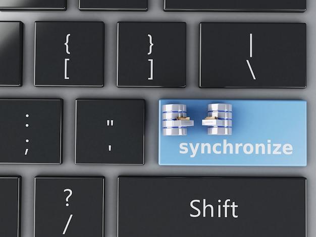 Lata de lixo 3d no teclado do computador.