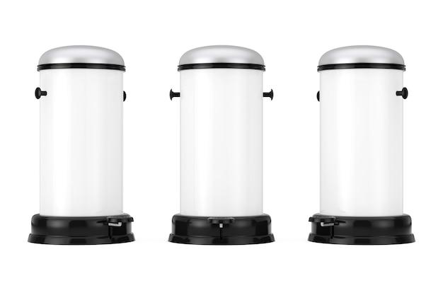 Lata de lixo de metal branco com pedal em um fundo branco. renderização 3d.